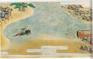 平家物語絵巻「屋島の戦い」 船の上に設置された扇の的を弓の名手、那須与一が射抜く平家物語の名場面。(本展には平家物語絵巻の展示はありません)
