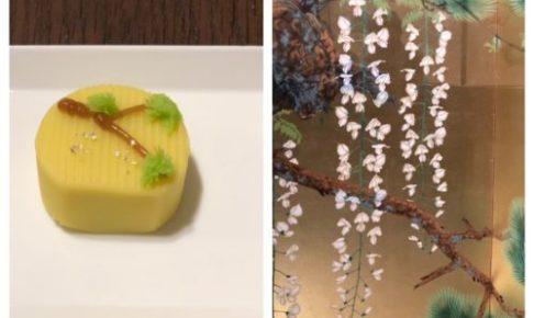 山種美術館 Cafe椿の日本画をモチーフにした創作和菓子(右:モチーフになった下村観山作「老松白藤」)