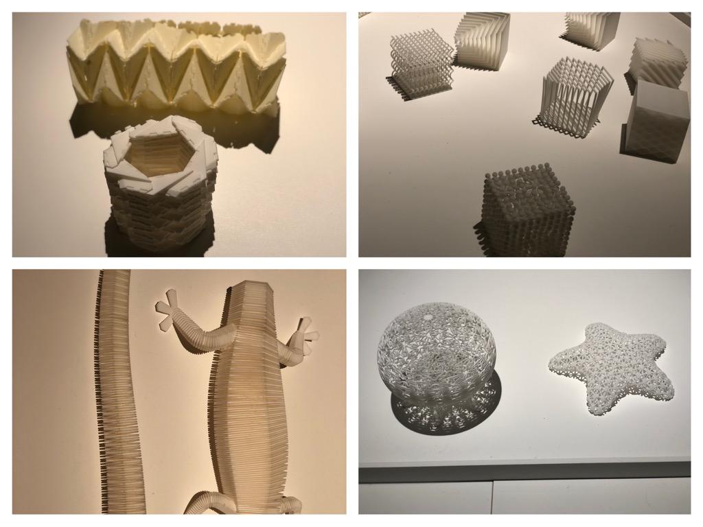 3Dプリンタで作れるものいろいろ。触ってみると質感は様々。