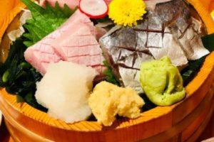 川端鮮魚店、寒ブリとアジのお刺身。感動的に美味。