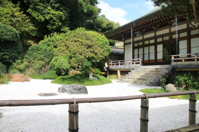 鎌倉・報国寺にて。 竹林だけでなく、 枯山水の庭園も魅力の一つ。