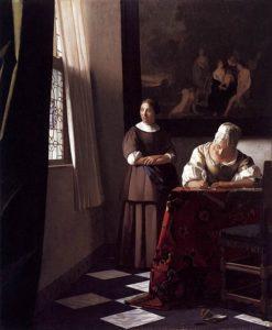 フェルメール作 「手紙を書く婦人と召使い」 (1670-71年頃) アイルランド・ナショナル・ギャラリー所蔵