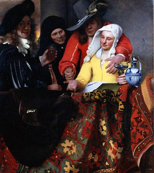 フェルメール作 「取り持ち女」(1656年)、ドレスデン国立古典絵画館所蔵