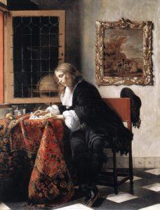 ハブリエル・メツー作 「手紙を書く男」 (1664-66年頃) アイルランド・ナショナル・ギャラリー所蔵