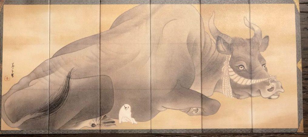 「白象黒牛図屏風」長沢蘆雪作 絵葉書。