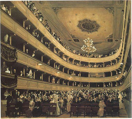 旧ブルク劇場の観客席 (1888年、グスタフ・クリムト作) ウィーンミュージアム蔵 ※画像はwikimedia commonsより