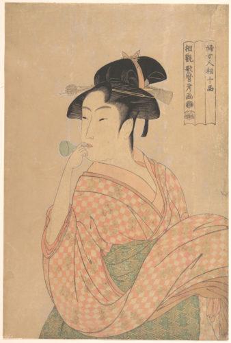 喜多川歌麿「婦女人相十品 ポペンを吹く娘」(メトロポリタン美術館画像)