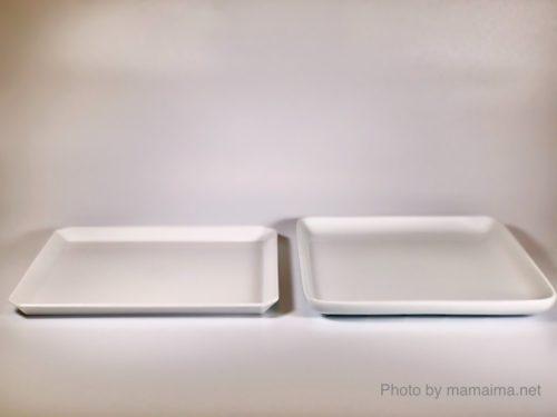 左:1616 / Arita Japan TY Square Plate 165mm 右:無印良品 白磁正角皿・大 約幅18×奥行18×高さ2cm